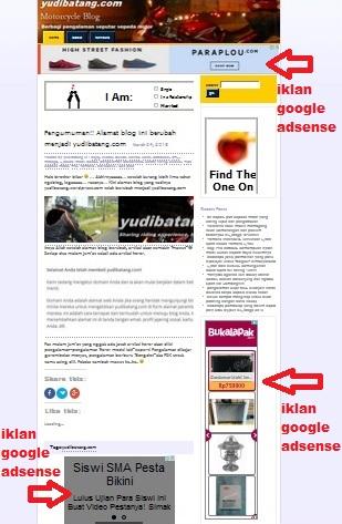 penempatan iklan google adsense