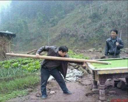 bilyar pake bambu