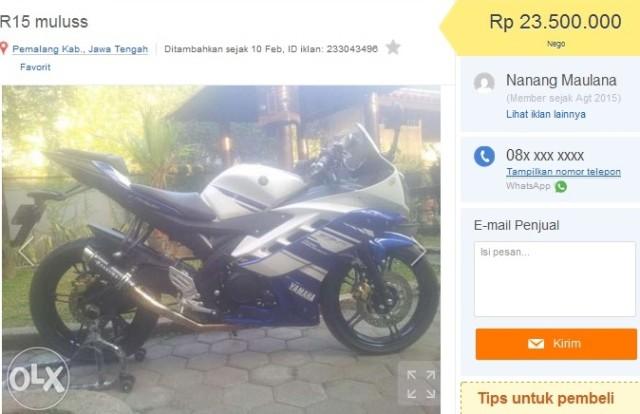 Yamaha R15 bekas pemalang