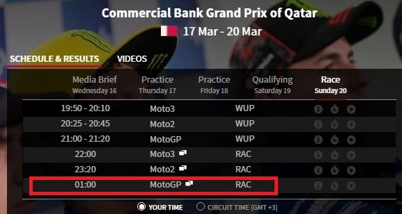 jadwal motogp qatar