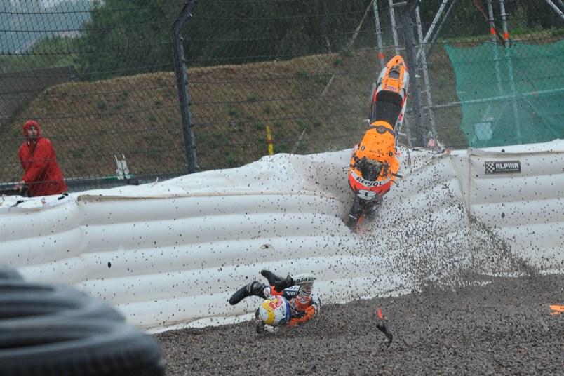 Pedrosa crash, German MotoGP 2008