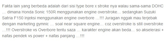 perbandingan mesin Honda Sonic 150 dan mesin suzuki Satria f150 injeksi