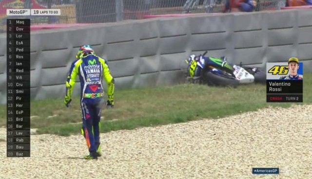rossi-crash in gp americas 2016