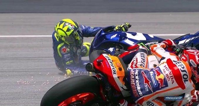 Motogp malaysia, Marquez juara Rossi crash