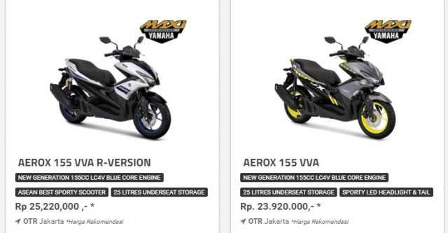 Harga Honda ADV150 VS Aerox155